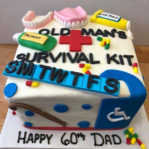 Survival Over 60 Birthday Cake