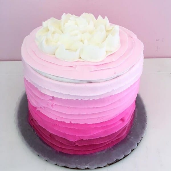 Four Shades of Pink on Custom Cake