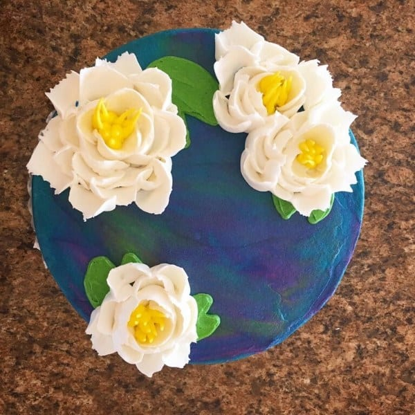 White & Yellow Sugar Flowers Custom Cake