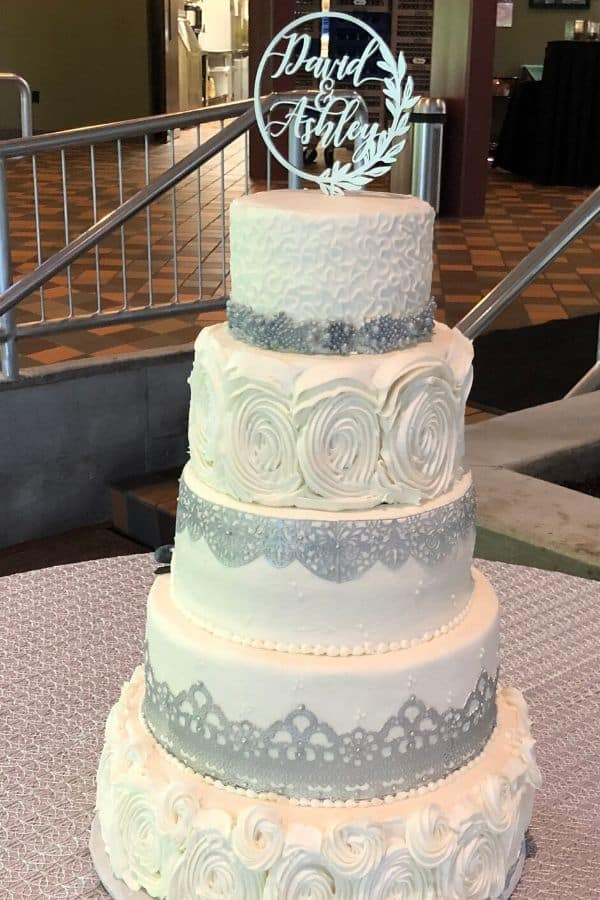Five Tiered Wedding Cake with Silver Trim