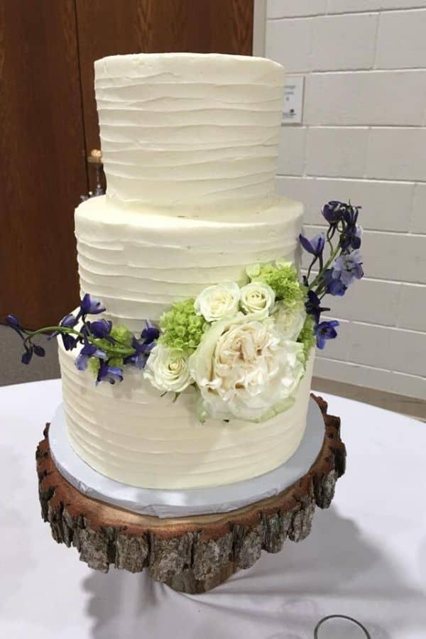 Three Tiered Rustic Wedding Cake