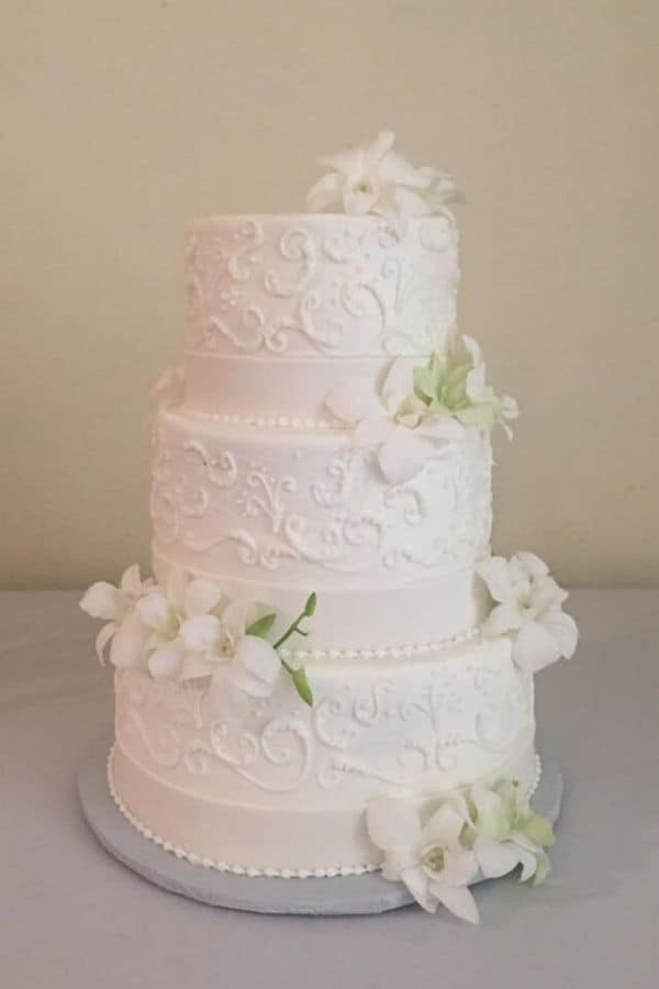Three Tiered Wedding with Decorative Stenciling