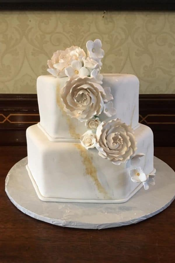 Two Tiered Wedding Cake with Flowers