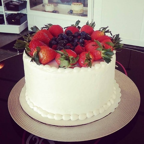 All White Cake with Strawberries, Raspberries, & Blueberries